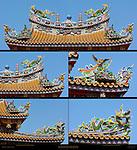 Temple Roof Detail, Composite Image, Kanteibyo Temple, Guan di Miao, Chinatown, Yokohama, Japan