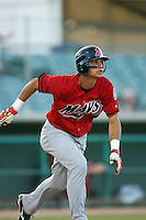April 19 2009: Edilio Colina of the High Desert Mavericks bats against the Lancaster JetHawks at Clear Channel Stadium in Lancaster,CA.  Photo by Larry Goren/Four Seam Images