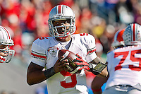 January 02, 2012:   Ohio State Buckeyes quarterback Braxton Miller (5) drops back to pass during first half action at the 2012 Taxslayer.com Gator Bowl between the Florida Gators and the Ohio State Buckeyes at EverBank Field in Jacksonville, Florida.