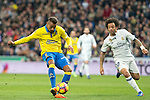 Prince Boateng of UD Las Palmas competes for the ball with Marcelo Vieira of Real Madrid  during the match of Spanish La Liga between Real Madrid and UD Las Palmas at  Santiago Bernabeu Stadium in Madrid, Spain. March 01, 2017. (ALTERPHOTOS / Rodrigo Jimenez)