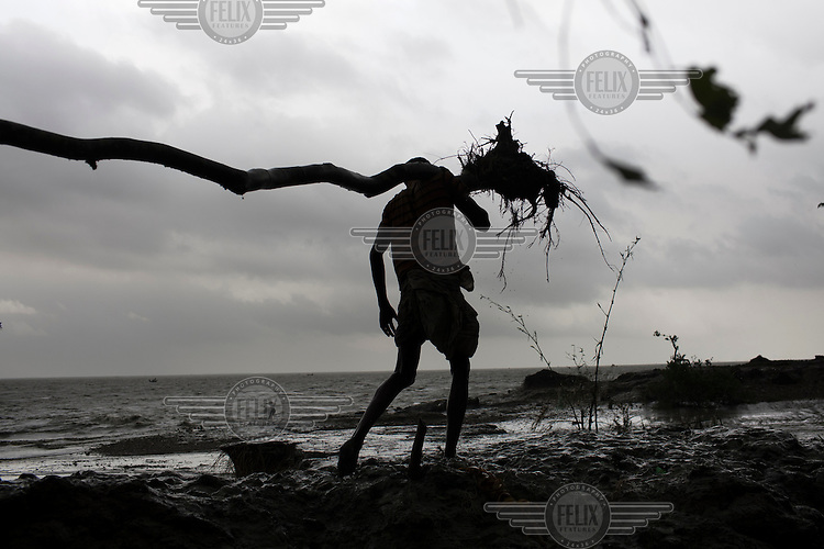 A man carries away a tree on the eastern coast of the island of Bhola after storm damage. The Bhola Islanders are slowly being displaced by climate change that is affecting the low-lying region of the Delta.