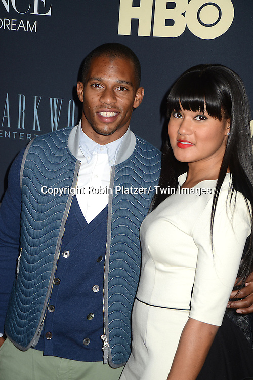 """Victor Cruz and Elaine Whitley attends a screening of Beyonce's """" Life is But a Dream """" on February 12, 2013 at the Ziegfeld Theatre in New York City. The documentary will be shown on HBO on February 16, 2013."""