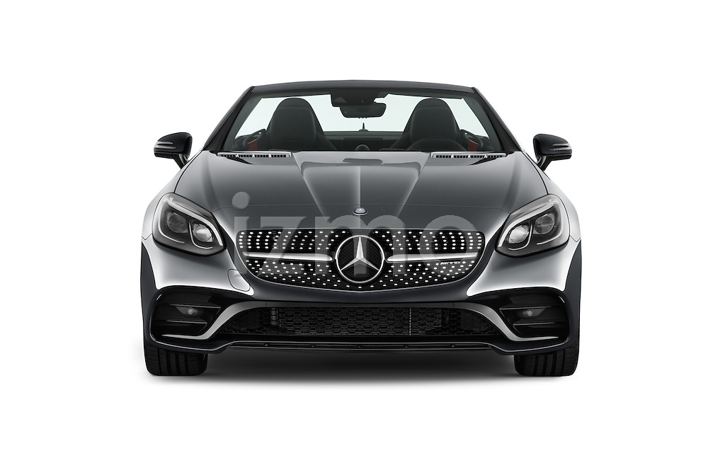 Car photography straight front view of a 2017 Mercedes Benz SLC-Roadster AMG-SLC43 2 Door Convertible Front View