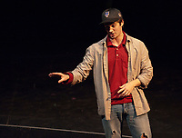 """Occidental College students perform 30 neo-futurist plays from """"Too Much Light Makes the Baby Go Blind"""" on November 10, 2010 Keck Theater, Los Angeles. (Photo by Marc Campos, College Photographer)"""