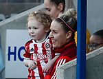 Sophie Barker of Sheffield Utd and mascot during the The FA Women's Championship match at the Proact Stadium, Chesterfield. Picture date: 12th January 2020. Picture credit should read: Simon Bellis/Sportimage