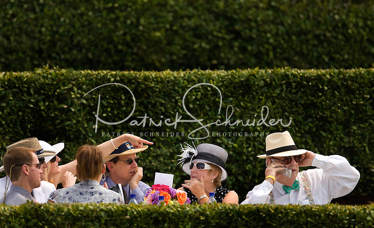 Spectators watch the races during the Queen's Cup Steeplechase in Mineral Springs, NC.