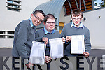 Michael Kenny, 9 A's, Gearoid O'Connor, 10 A's, Jerdie O'Shea, 11 A's for CBS the Green Junior cert Students