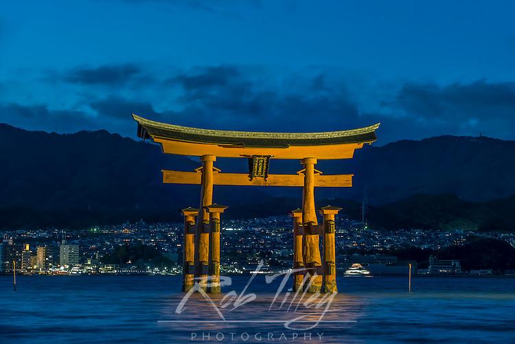 Japan, Miyajima, Itsukushima Shrine, Twilight Floating Torii Gate