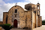 Travel stock photo of an Ancient orthodox church Timios Stavros in Parekklisia village near Limassol in Cyprus Horizontal