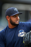 Mobile BayBears pitcher Enrique Burgos (40) during practice before a game against the Mississippi Braves on April 28, 2015 at Hank Aaron Stadium in Mobile, Alabama.  The game was suspended after the top of the second inning with Mobile leading 3-0, the BayBears went on to defeat the Braves 6-1 the following day.  (Mike Janes/Four Seam Images)