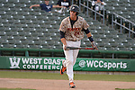 May 23, 2014; Stockton, CA, USA; Pepperdine Waves first baseman Brad Anderson (24) during the WCC Baseball Championship at Banner Island Ballpark.