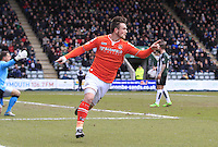 Jack Marriott of Luton Town wheels away in celebration after scoring the opening goa during the Sky Bet League 2 match between Plymouth Argyle and Luton Town at Home Park, Plymouth, England on 19 March 2016. Photo by Liam Smith.