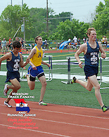 SLUH's Michael Swan, Francis Howell's Gavin Galanes, and SLUH's Tom Rubio sprint to the finish of the 1600, fighting for the final two qualifying spots for the State Track meet. Swan finished 3rd in 4:29.98 while Rubio edged Galanes, finishing in 4:30, while Galanes was 5th in 4:31.06.