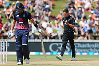 New Zealand's Trent Boult celebrates the early wicket of England's Jonny Bairstow. New Zealand Blackcaps v England. One Day International Cricket. Seddon Park, Hamilton, New Zealand on Sunday 25 February 2018.<br /> <br /> Copyright photo: &copy; Bruce Lim / www.photosport.nz