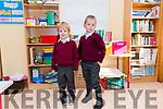 Pupils from Scoil an Ghleanna Naoise Mac Cartaigh and Donnchadh Ó Beaglaoi on their first day at school.