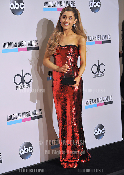 Ariana Grande in the pressroom at the 2013 American Music Awards at the Nokia Theatre, LA Live.<br /> November 24, 2013  Los Angeles, CA<br /> Picture: Paul Smith / Featureflash