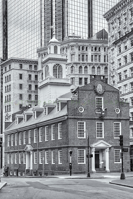 The Old State House amongst the modern buildings in the Financial District of Boston, Massachusetts.  The Old State House was built in 1713.