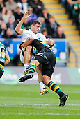 9th September 2017, Franklins Gardens, Northampton, England; Aviva Premiership Rugby, Northampton Saints versus Leicester Tigers; Jonny May of Leicester Tigers is tackled by Luther Burrell of Northampton Saints