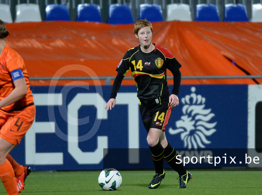 20140212 - ZWOLLE , THE NETHERLANDS : Belgian Lien Mermans  pictured during the female soccer match between The Netherlands and Belgium , on the fifth matchday in group 5 of the UEFA qualifying round to the FIFA Women World Cup in Canada 2015 at Het Ijseldelta Stadion , Zwolle . Wednesday 12th February 2014 . PHOTO DAVID CATRY