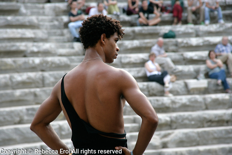 Carlos Acosta in ballet class at the Aspendos amphitheatre in Antalya, Turkey in 2006