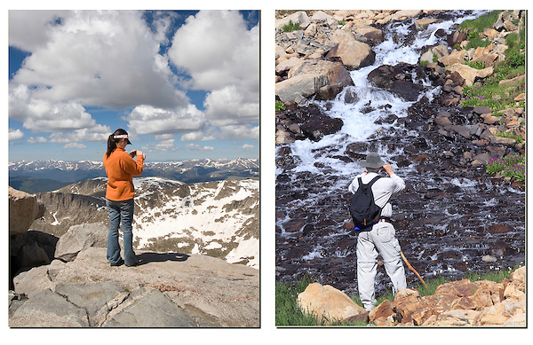 Photography from the summit of Mt Evans (left), west of Denver. <br />