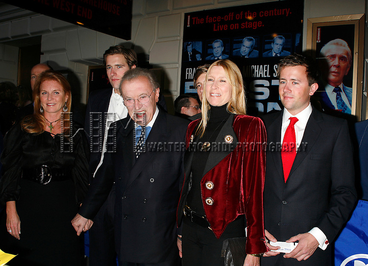 Sarah Ferguson with David Frost wife Carina Frost, Son Miles Frost<br /> arriving for the Opening Night performance of FROST NIXON at the Bernard B. Jacobs Theatre in New York City.<br /> April 22, 2007