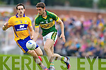 Killian Young, Kerry in action against Shane Brennan, Clare in the Munster Senior Championship Semi Final in Cusack Park, Ennis on Sunday.