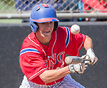 Reno's Joseph Condon lays down a bunt against Manogue in the NIAA 4A Northern Regional Baseball Championship at Galena High School in Reno, Nevada on Saturday, May 12, 2018.