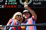 06 August 2014: A couple Bayern Munich fans, one holding up a miniature Jules Rimet Trophy. The Major League Soccer All-Stars played Bayern Munich of the German Bundesliga at Providence Park in Portland, Oregon in the 2014 MLS All-Star Game.
