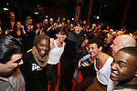 Bobby Conte Thornton with fellow Broadway debut cast members during the Actors' Equity Gypsy Robe Ceremony honoring Jonathan Brody for  'A Bronx Tale'  at The Longacre on December 1, 2016 in New York City.