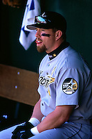 SAN FRANCISCO, CA - Jeff Bagwell of the Houston Astros sits in the dugout during a game against the San Francisco Giants at Candlestick Park in San Francisco, California in 1999. Photo by Brad Mangin