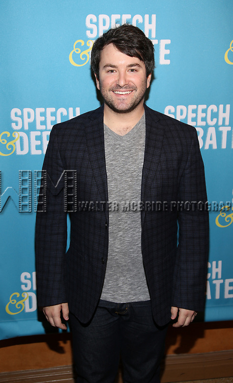 Alex Brightman attends Broadway Red Carpet Premiere of 'Speech & Debate'  at the American Airlines Theatre on April 2, 2017 in New York City.