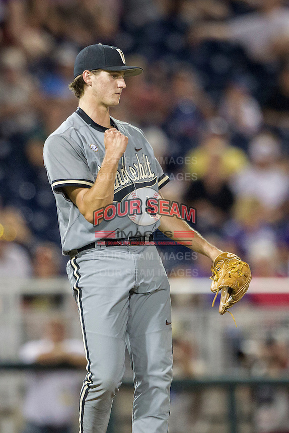 Vanderbilt Commodores pitcher Kyle Wright (44) celebrates the final out of the NCAA College baseball World Series against the TCU Horned Frogs on June 16, 2015 at TD Ameritrade Park in Omaha, Nebraska. Vanderbilt defeated TCU 1-0. (Andrew Woolley/Four Seam Images)