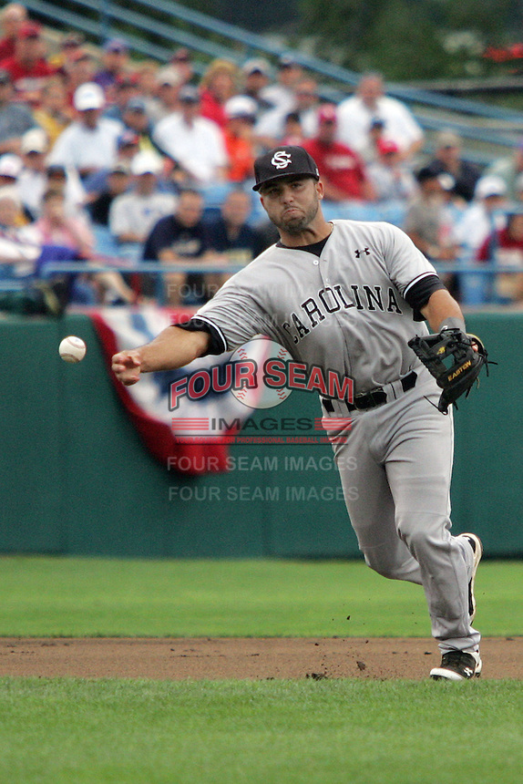 South Carolina's 3B Adrian Morales in Game 3 of the NCAA Division One Men's College World Series on Sunday June 20th, 2010 at Johnny Rosenblatt Stadium in Omaha, Nebraska.  (Photo by AJ Woolley / Four Seam Images)