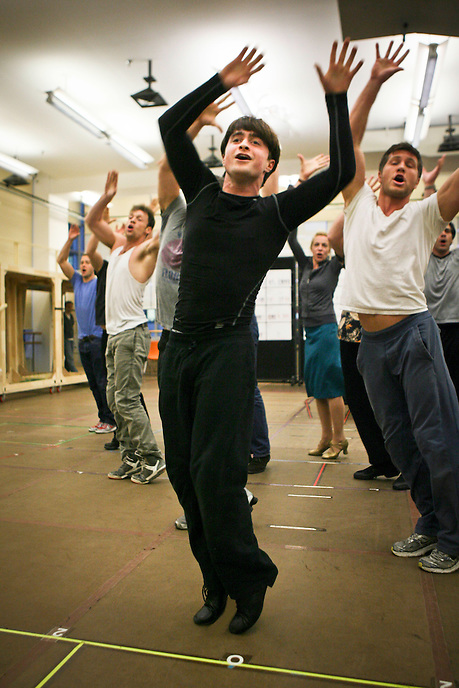 """Daniel Radcliffe in """"How To Succeed in Business Without Really Trying"""" in  rehearsal studio.  New 42nd Street Studios.  Photo by Ari Mintz.  2/8/2011."""
