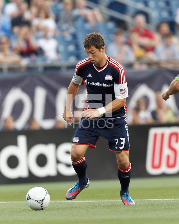 New England Revolution forward Blake Brettschneider (23) on the attack. In a Major League Soccer (MLS) match, the New England Revolution tied the Seattle Sounders FC, 2-2, at Gillette Stadium on June 30, 2012.