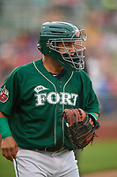 Fort Wayne TinCaps catcher Juan Fernandez (37) during a game against the West Michigan Whitecaps on May 17, 2018 at Parkview Field in Fort Wayne, Indiana.  Fort Wayne defeated West Michigan 7-3.  (Mike Janes/Four Seam Images)