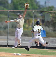 Sunny Hills' Jacob Murphy is safe at first after a wild throw pulls the West Torrance first baseman off the bag.