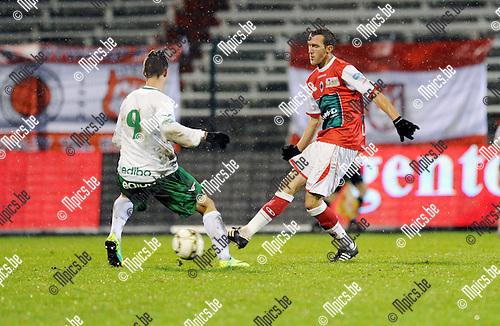 2011-12-17 / Voetbal / seizoen 2011-2012 / R. Antwerp FC - Lommel United / Alessandro Cerigioni (L) met Benjamin Lambot van Antwerp..Foto: Mpics.be