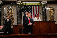 FEBRUARY 5, 2019 - WASHINGTON, DC: President Donald Trump delivered the State of the Union address, with Vice President Mike Pence and Speaker of the House Nancy Pelosi, at the Capitol in Washington, DC on February 5, 2019. (Doug Mills/The New York Times POOL PHOTO) NYTSOTU / MediaPunchCAP/MPI/RS<br /> &copy;RS/MPI/Capital Pictures