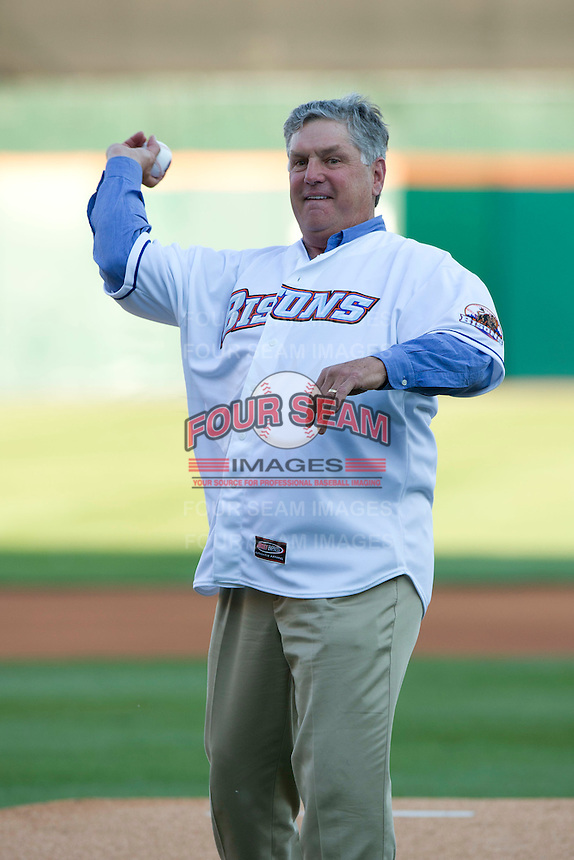 New York Mets Hall of Fame pitcher Tom Seaver throwing out the first pitch during the Triple-A All-Star Game Coca-Cola Field on July 11, 2012 in Buffalo, New York.  The Pacific Coast League defeated the International League 3-0.  (Mike Janes/Four Seam Images via AP Images)