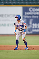 Tennessee Smokies shortstop Zack Short (4) leads off second base during a game against the Birmingham Barons on August 16, 2018 at Regions FIeld in Birmingham, Alabama.  Tennessee defeated Birmingham 11-1.  (Mike Janes/Four Seam Images)