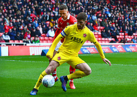 Fleetwood Town's Ched Evans vies for possession with Barnsley's Jordan Williams<br /> <br /> Photographer Richard Martin-Roberts/CameraSport<br /> <br /> The EFL Sky Bet League One - Barnsley v Fleetwood Town - Saturday 13th April 2019 - Oakwell - Barnsley<br /> <br /> World Copyright © 2019 CameraSport. All rights reserved. 43 Linden Ave. Countesthorpe. Leicester. England. LE8 5PG - Tel: +44 (0) 116 277 4147 - admin@camerasport.com - www.camerasport.com