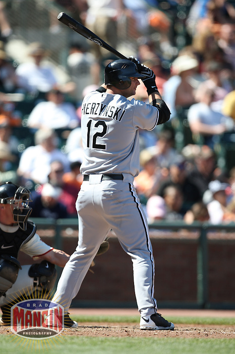 SAN FRANCISCO - MAY 18:  A.J. Pierzynski of the Chicago White Sox bats during the game against the San Francisco Giants at AT&T Park in San Francisco, California on May 18, 2008.  The White Sox defeated the Giants 13-8.  Photo by Brad Mangin
