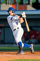 Ryan Stovall #9 of the Burlington Royals follows through on his swing against the Kernersville Bulldogs in an exhibition game at Burlington Athletic Stadium June20, 2010, in Burlington, North Carolina.  Photo by Brian Westerholt / Four Seam Images