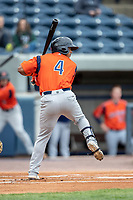 Bowling Green Hot Rods shortstop Wander Franco (4) at bat against the West Michigan Whitecaps on May 21, 2019 at Fifth Third Ballpark in Grand Rapids, Michigan. The Whitecaps defeated the Hot Rods 4-3.  (Andrew Woolley/Four Seam Images)