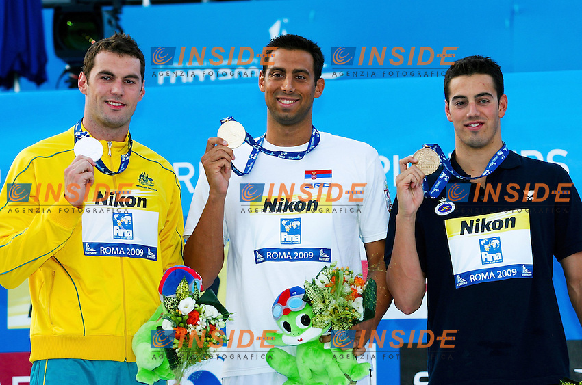 Roma 27th July 2009 - 13th Fina World Championships .From 17th to 2nd August 2009.50 m Butterfly men's.Milorad Cavic SRB Gold Medal.Munoz Rafael ESP Silver Medal.Targett Matthew AUS Bronze Medal.photo: Roma2009.com/InsideFoto/SeaSee.com