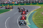 25th March 2018, Melbourne Grand Prix Circuit, Melbourne, Australia; Melbourne Formula One Grand Prix, race day; The number 44 Mercedes AMG Petronas driven by Lewis Hamilton leads the field through corner 1