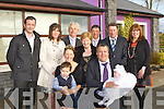CHRISTENED : Little Rachel O'Donoghue with her parens after her christening in St Stephens and St John's Church, Castleisland on Saturday and afterward to O'Riada's Bar & Restaurant for refreshment: Front l-r; Carmel and Jamie O'Donoghue, Derek Britton, Rachel O'Donoghue (baby). Back l-r: David O'Donoghue, Catherine Mangan, Jame,Rita,Sean, Jimmy and Bridget O'Donoghue..........