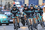 Bora-Hansgrohe with Davide Formolo (ITA) and Sam Benett (IRL) during Stage 1 of La Vuelta 2019, a team time trial running 13.4km from Salinas de Torrevieja to Torrevieja, Spain. 24th August 2019.<br /> Picture: Eoin Clarke | Cyclefile<br /> <br /> All photos usage must carry mandatory copyright credit (© Cyclefile | Eoin Clarke)